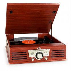 Auna 77-92B gramofon, USB, SD, AUX, FM, třešeň