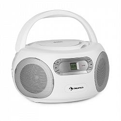 Auna Haddaway, CD boombox, CD přehrávač, bluetooth, FM, AUX vstup, LED displej, bílý