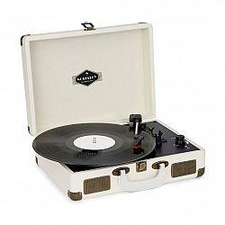 Auna Nostalgy by Peggy Sue retro gramofon desky USB AUX krémová / vzhled mosazi