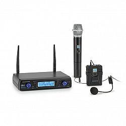 Auna Pro UHF200C-2B, sada 2kanálových UHF bezdrátových mikrofonů, přijímač, 2x kapesní vysílač / headset