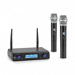 Auna Pro UHF200C-2H, sada 2kanálových UHF bezdrátových mikrofonů, přijímač, 2x ruční mikrofon, černé