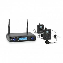Auna Pro UHF200C-HB, sada 2kanálových UHF bezdrátových mikrofonů, přijímač, ruční mikrofon, vysílač