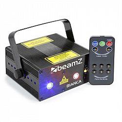Beamz Bianca, dvojitý laser, 7 DMX kanálů, 330 mW rgb, 12 motivů, master / slave
