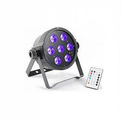 Beamz FlatPAR, 7x 18 W, 6-v-1 hex color RGBAWUV-LED, DMX IR, včetně dálkového ovládání