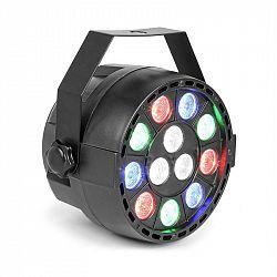 Beamz Party, UV Par reflektor, 12x 1W UV LED dioda, 15 W, DMX režim a samostatný provoz, LED displej, černý