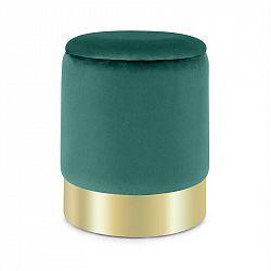 Besoa Gigi, taburetka, 38x31 cm (V x Ø), úložný prostor, samet, zelená