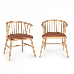 Besoa Nyssa, set jídelních židlí, buk, pota syntetická kůže, hnědé
