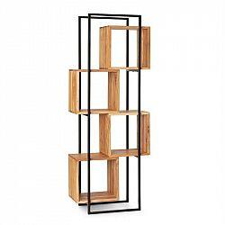Besoa Rotterdam, regál, akátové dřevo, železná kostra, 4 úrovní, 70 x 180 x 33,5 cm, dřevo