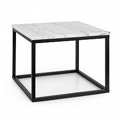 Besoa Volos T50, konferenční stolek, 50 x 40 x 50 cm, mramor, interiér & exteriér, černý/bílý