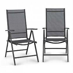 Blumfeldt Almeria Garden Chair, skládací židle, sada 2 kusů, 56,5 x 107 x 68 cm, Comfortmesh, antracitová