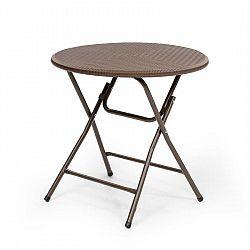 Blumfeldt Burgos round, skládací stůl, polyratan, 80 cm Ø plocha stolu, 4 osoby, hnědý