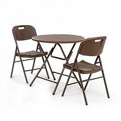 Blumfeldt Burgos, stůl + 2 židle, ocelové trubky, HDPE,imitace ratanu, sklopná