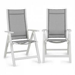 Blumfeldt Cádiz, skládací židle, sada 2 kusů, 59,5 x 107 x 68 cm, comfortmesh, hliník/bílá