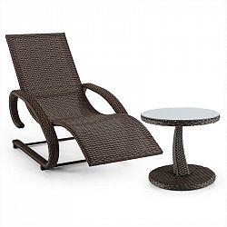 Blumfeldt Daybreak, set zahradního nábytku, houpací lehátko + stůl, optika pleteného koše, hnědý