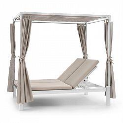 Blumfeldt Eremitage Double Sunbed, lehátko pro 2 osoby, ocelový rám, sluneční stříška, závěsy, krémová