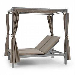 Blumfeldt Eremitage Double Sunbed, lehátko pro 2 osoby, ocelový rám, sluneční stříška, závěsy, taupe