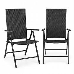 Blumfeldt Estoril, zahradní židle, polyratan, hliník, 7 úrovní, skládací, černá