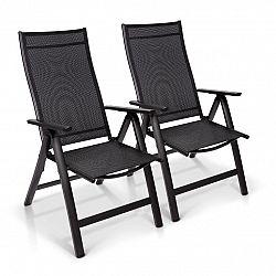Blumfeldt London, zahradní židle, souprava 2 kusů, textilen, hliník, 6 pozic, skládací