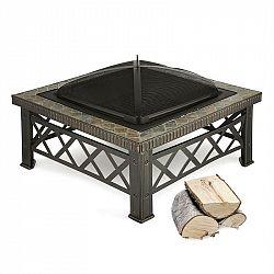 Blumfeldt Merano, ohniště, 75 x 75 cm, grilovací rošt, dlaždicový design, ocel, černěné