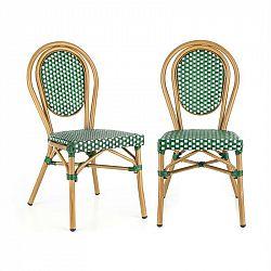 Blumfeldt Montpellier GR, židle, možnost ukládat židle na sebe, hliníkový rám, polyratan, zelená
