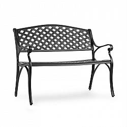 Blumfeldt Pozzilli BL, zahradní lavička, litý hliník, odolná vůči nepřízni počasí, černá