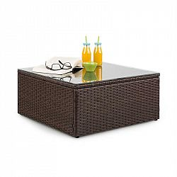 Blumfeldt Theia, odkládací stolek, polyratan, skleněná deska, hnědý