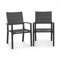 Blumfeldt Torremolinos, zahradní židle, 2ks, hliník, ComfortMesh, tmavěšedé
