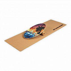 BoarderKING Indoorboard Allrounder, balanční deska, podložka, válec, dřevo/korek, červená