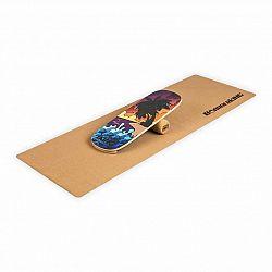 BoarderKING Indoorboard Classic, balanční deska, podložka, válec, dřevo/korek, červená