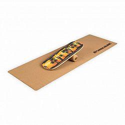 BoarderKING Indoorboard Classic, balanční deska, podložka, válec, dřevo/korek, žlutá