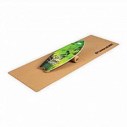 BoarderKING Indoorboard Wave, balanční deska, podložka, válec, dřevo/korek, zelená