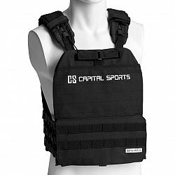 Capital Sports Battlevest 2.0, zátěžová vesta, 2 x 2 závaží 2,6 & 4,0 kg, černá