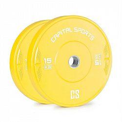 Capital Sports Nipton 15, kotouč, závaží, 2 x 15 kg, tvrzená pryž, žlutý
