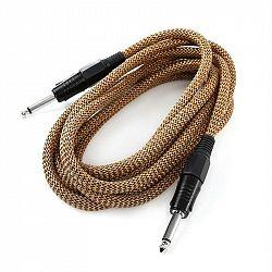 FrontStage 6,35mm-Jack kabel, 3m, mono, textil zlato-černý