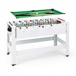 KLARFIT Spin 2 v 1, hrací stůl, kulečník, fotbálek. 180 ° otočný, hrací příslušenství, bílý