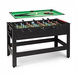 KLARFIT Spin 2 v 1, hrací stůl, kulečník, fotbálek. 180 ° otočný, hrací příslušenství, černý