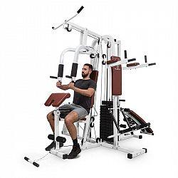 KLARFIT Ultimate Gym 9000, 7 stanic, do 150 kg, QR ocel, bílá