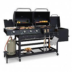 Klarstein Kingsville Smoker, kombinovaný gril, plyn, uhlí, udírna, 13,5 kW, 3 + 1 hořáky