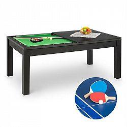 OneConcept Liverpool, 3-v-1, hrací stůl, 7' kulečníkový stůl, stůl na stolní tenis, jídelní stůl, černý