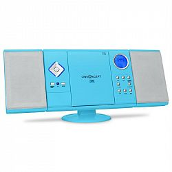 OneConcept V-12 stereo systém, MP3 CD, USB, SD, AUX, modrý