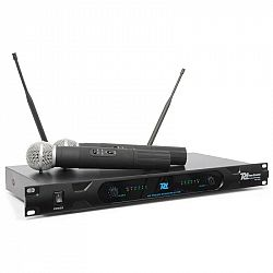 Power Dynamics PD722H, 2 kanálový VHF bezdrátový mikrofonní systém, 2 x bezdrátový mikrofon