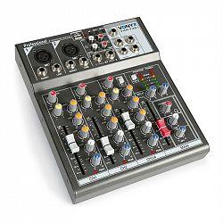 Vonyx VMM-F401 4kanálový hudební mixážní pult, USB přehrávač, AUX-in, + 48V fantomové napájení