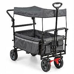 Waldbeck Easy Rider, tahací vozík se stříškou, do 70 kg, teleskopická tyč, sklopný, šedý