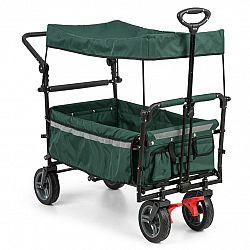 Waldbeck Easy Rider, tahací vozík se stříškou, do 70 kg, teleskopická tyč, sklopný, zelený