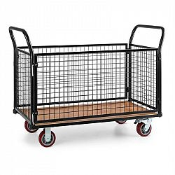 Waldbeck Loadster, mřížkový vozík, pojízdný, skladový vozík, max. 500 kg, dřevěný spodek, černý