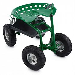 Waldbeck Park Ranger, zahradní vozík, 130 kg, pojízdný, odkládací prostor, ocel, zelený