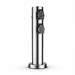 Waldbeck Plug 4 Play Round, sloup s elektrickými zásuvkami, 4 chráněné zásuvky, kulatý, ušlechtilá ocel