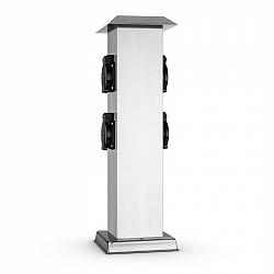 Waldbeck Plug 4 Play Square, sloup s elektrickými zásuvkami, 4 chráněné zásuvky, hranatý, ušlechtilá ocel