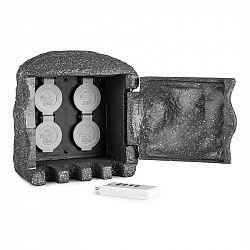 Waldbeck Power Rock Remote, zahradní zásuvka, 4-itý rozdělovač, 5 m, dálkové ovládání, skála, tmavě šedá