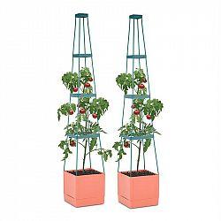 Waldbeck Tomato Tower, květináč na rajčata, set 2 ks, 25 x 150 x 25 cm, mřížka na upínání, PP